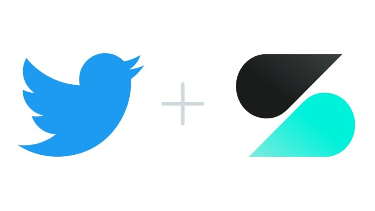 Twitter and Scroll logos with a plus sign in between them