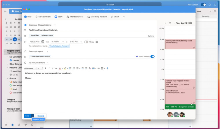 Outlook beta app feature on macOS that allows saving of meeting invites