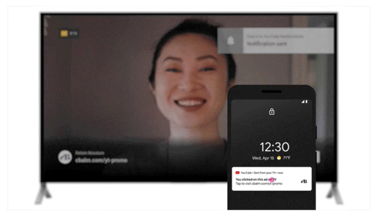 YouTube&039s new ad feature called brand extensions on a smart TV