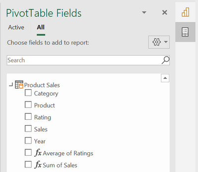 Excel PivotTable field list showing a table called Product Sales
