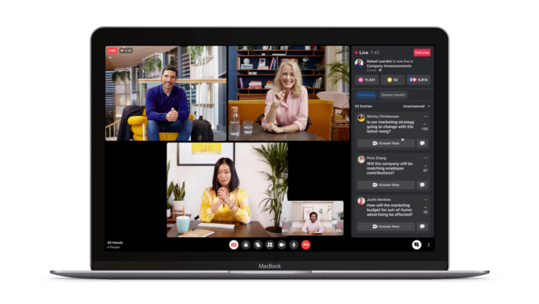 Live Q and A on Facebook Workplace with four participants on the screen