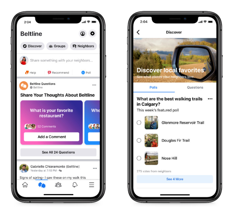 Facebook Neighborhoods&039 landing page on a mobile device