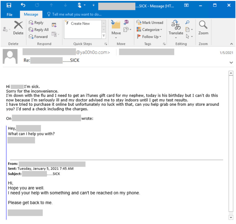 A sample of a BEC gift card scam provided by Microsoft