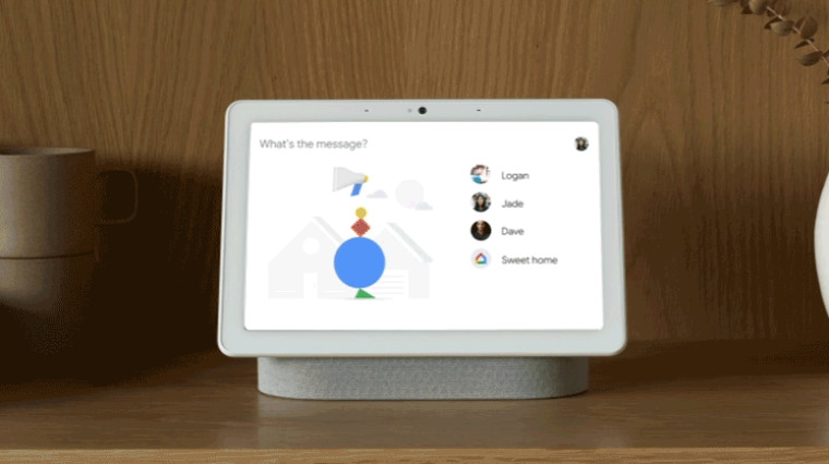 Family Broadcast feature on a Nest Hub