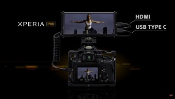 Sony Xperia Pro with HDMI and Type-C ports on a Sony DSLR