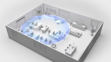 A Nokia Smart Node beaming 5G around a room