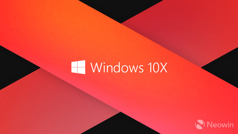 Windows 10X against red background