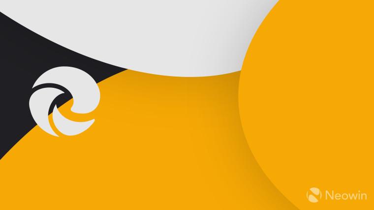 Microsoft Chromium Edge logo light grey on dark grey and orange background