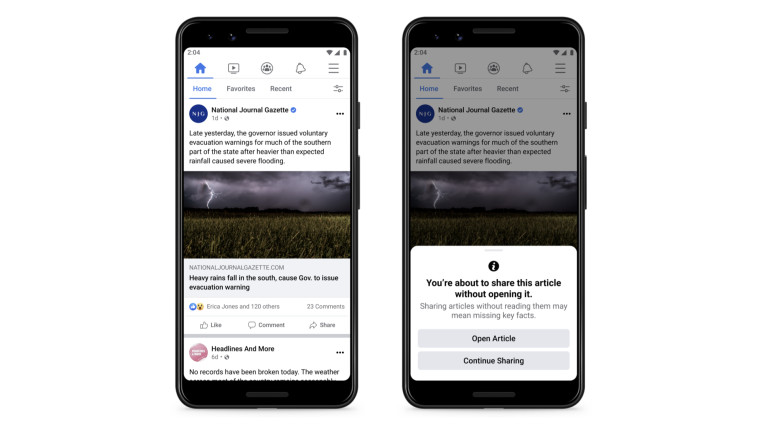 Screenshot of Facebook&039s new prompt asking users to read an article before sharing it