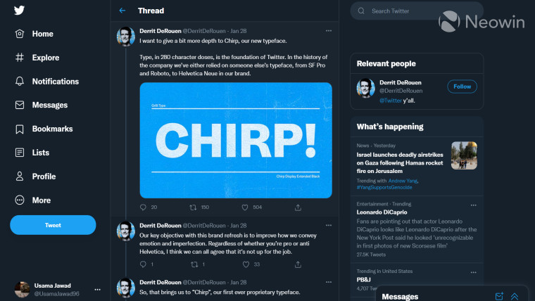A screenshot to show off Twitter&039s new Chirp typeface on desktop