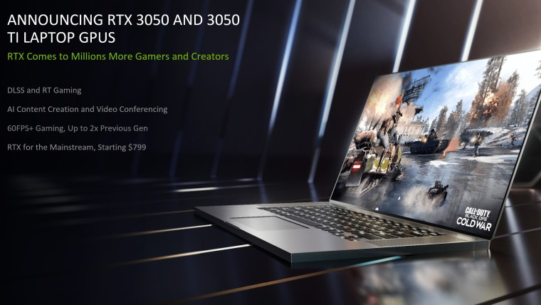 Text describing the benefits of RTX 3050 and 3050 Ti laptop GPUs next to a laptop