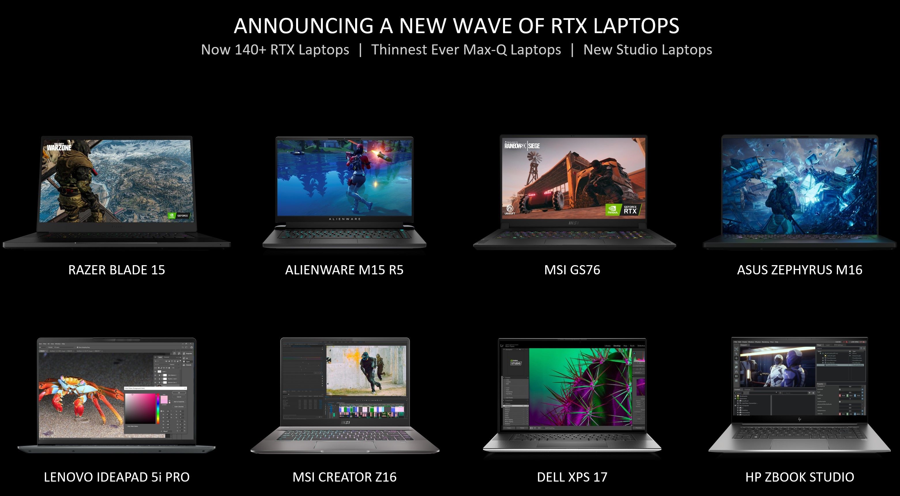 Image showcasing new RTX-based laptops from multiple manufacturers