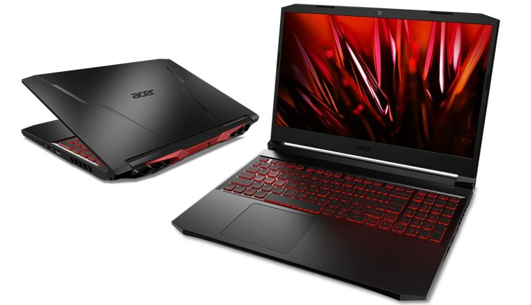 Acer Nitro 5 gaming laptop in both closed and open positions seen from the front and back