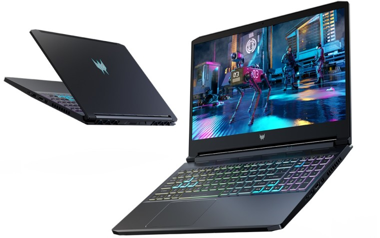 Acer Predator Triton 300 gaming laptop seen from the front and back