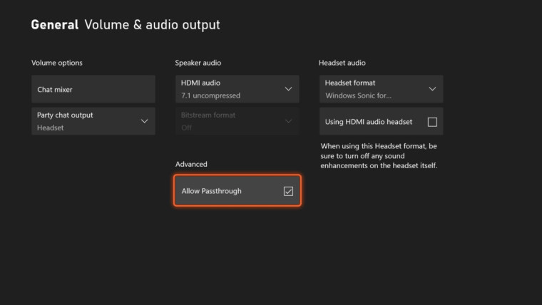Volume and audio output settings page on an Xbox console with the passthrough option highlighted