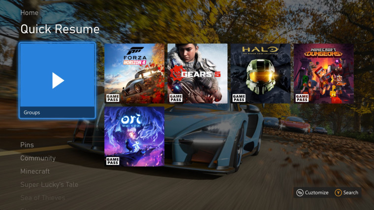 Xbox home screen with a Quick Resume group pinned and showing multiple games