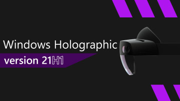 Windows Holographic version 21H1 written next to a HoloLens 2