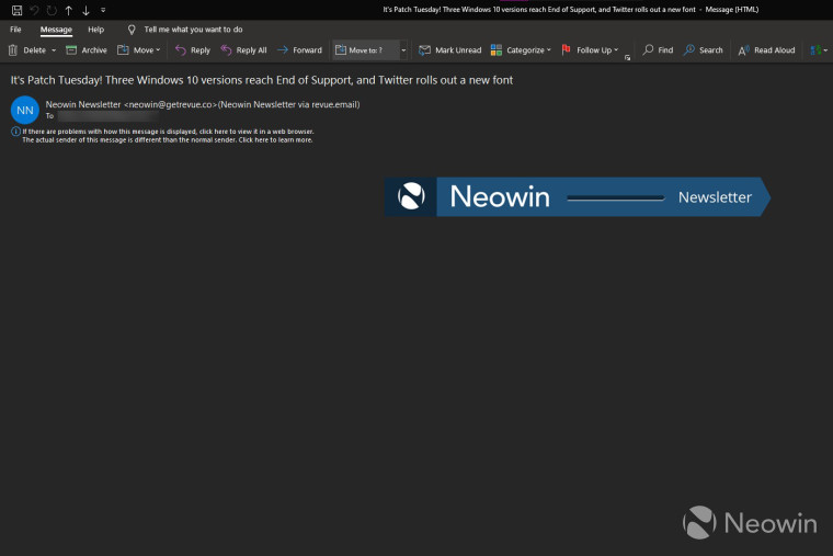Outlook desktop app bug displaying a blank email from Neowins Newsletter