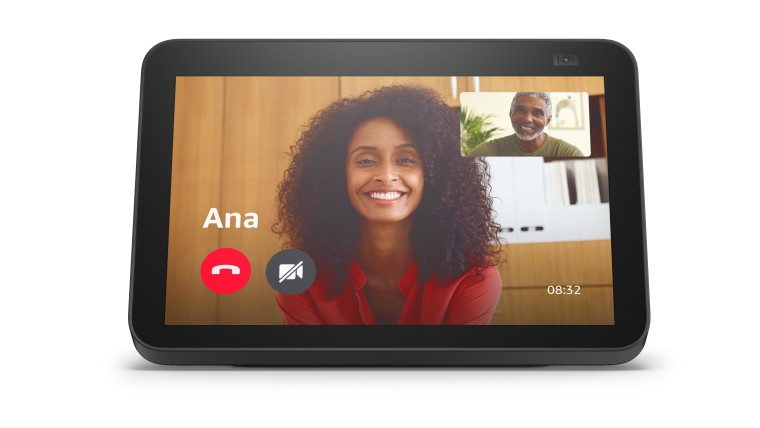 Front view of the new Echo Show 8 while taking a video call