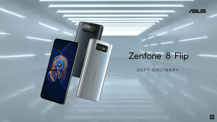 Three ASUS Zenfone 8 Flip phones against with the phone names written next to them