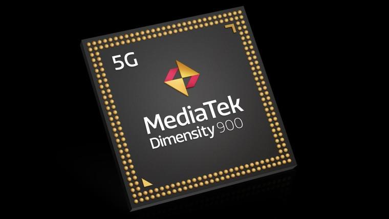 Product render of the MediaTek Dimensity 900 chipset