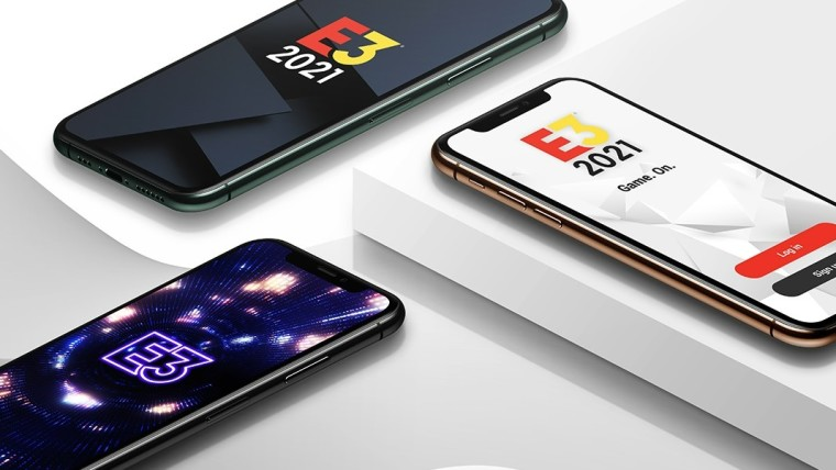 Three smartphones are shown running the E3 mobile app