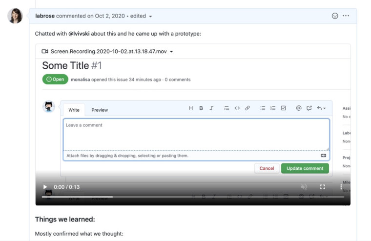 A video uploaded to GitHub