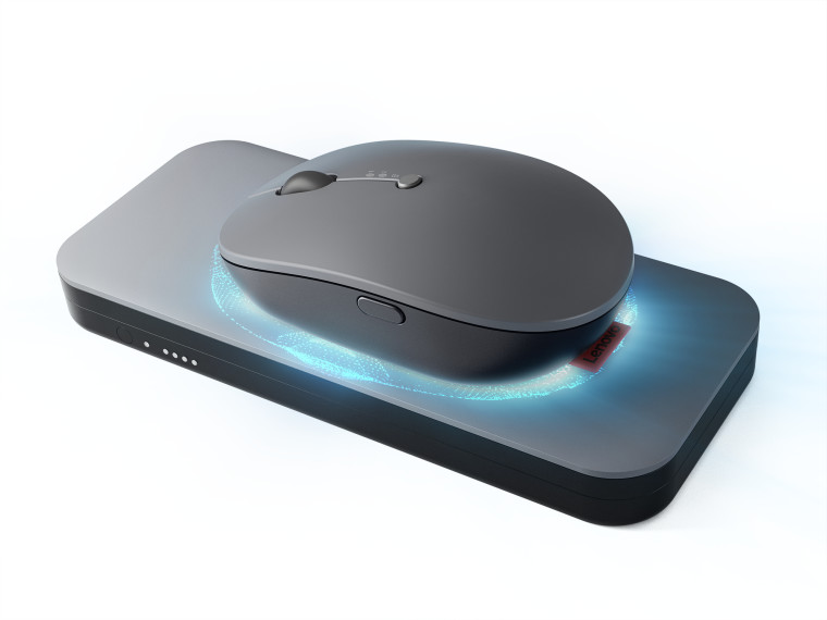 Lenovo&039s Go wireless mouse being charged with the Go power bank
