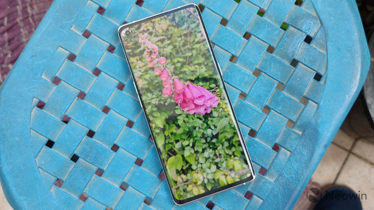 Top-down view of the OPPO Find X3 Neo display showing a picture of a pink flower