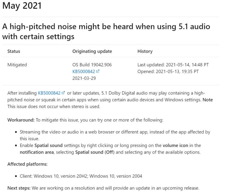 microsoft update kb5000842 sound issue
