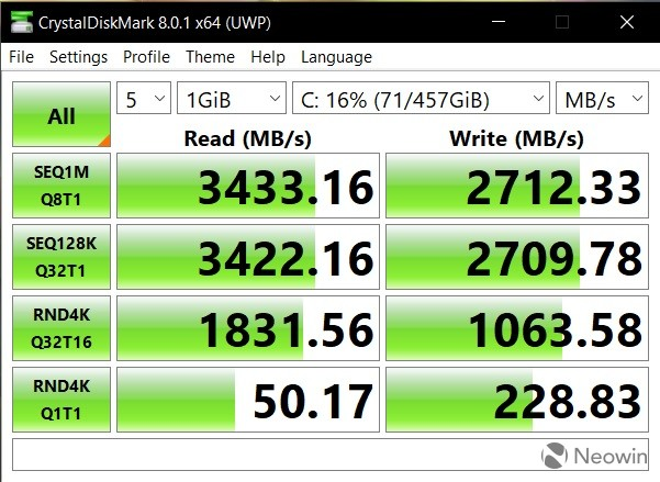 CrystalDiskMark benchmark results for the Honor MagicBook 14