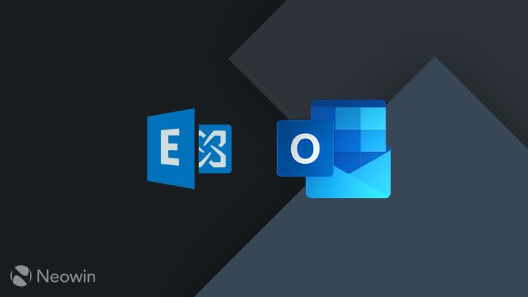 Microsoft Exchange logo blue and Microsoft Outlook logo blue on dark grey background