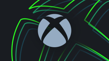 Xbox logo blue-grey on dark grey background with green Xbox outlined logos