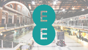 The EE logo with Liverpool Street station in the background