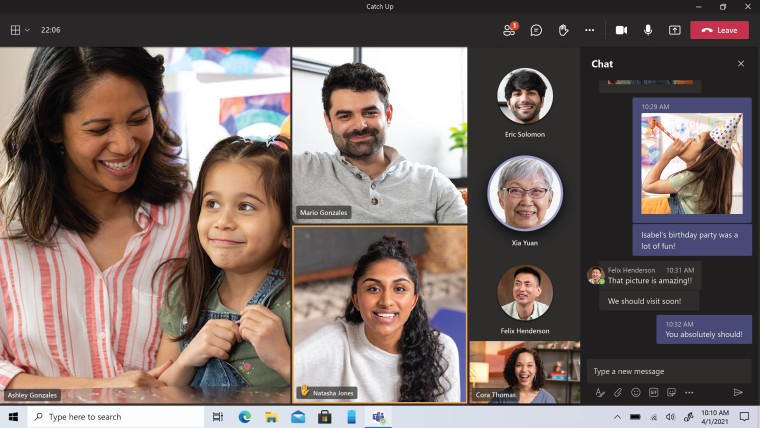 A group video call and chat shown side by side in Teams