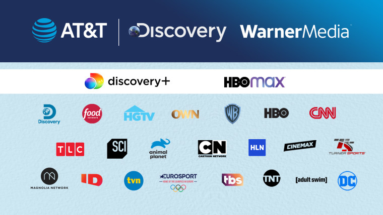 Logos of multiple brands owned by WarnerMedia and Discovery