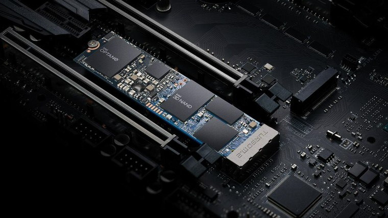 An Intel Optane Memory H20 with SSD stick installed on a motherboard