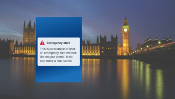 An example emergency alert dialogue in front of big ben