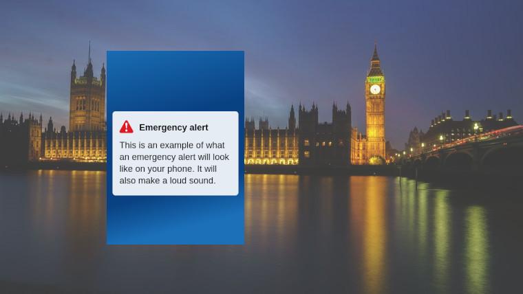 An example emergency alert dialogue in front of big ben