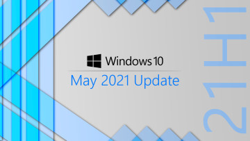 Windows 10 May 2021 Update written next to a vertical 21H1 text