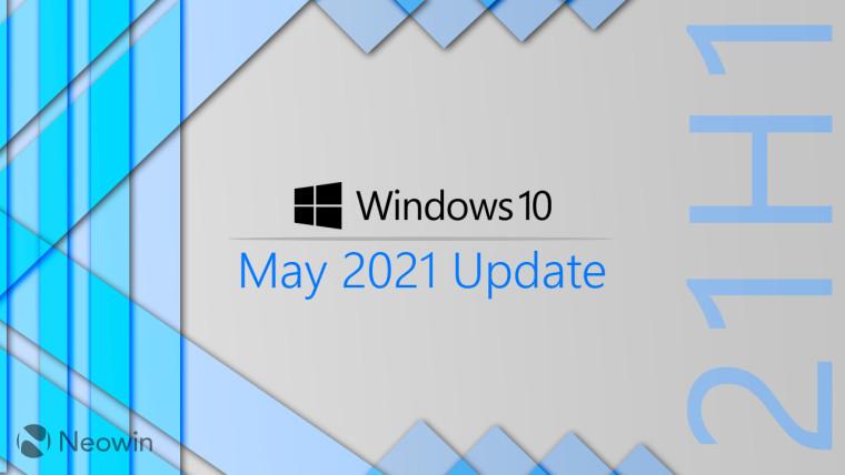 Windows 10 May 2021 Update written next to a vertical 21H1 text