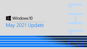 Windows 10 May 2021 Update written right above four blue lines