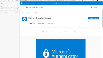 Chrome Web Store listing of fake Microsoft Authenticator extension