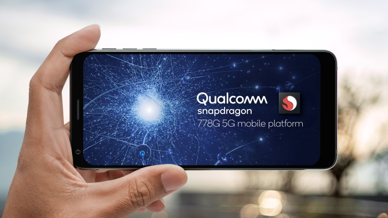 A smartphone displaying the Qualcomm Snapdragon 778G logo