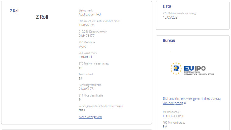 Screenshot of Samsung&039s trademark application for the Galaxy Z Roll moniker with the EU