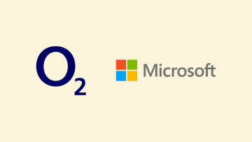 The O2 and Microsoft logos on a warm white background