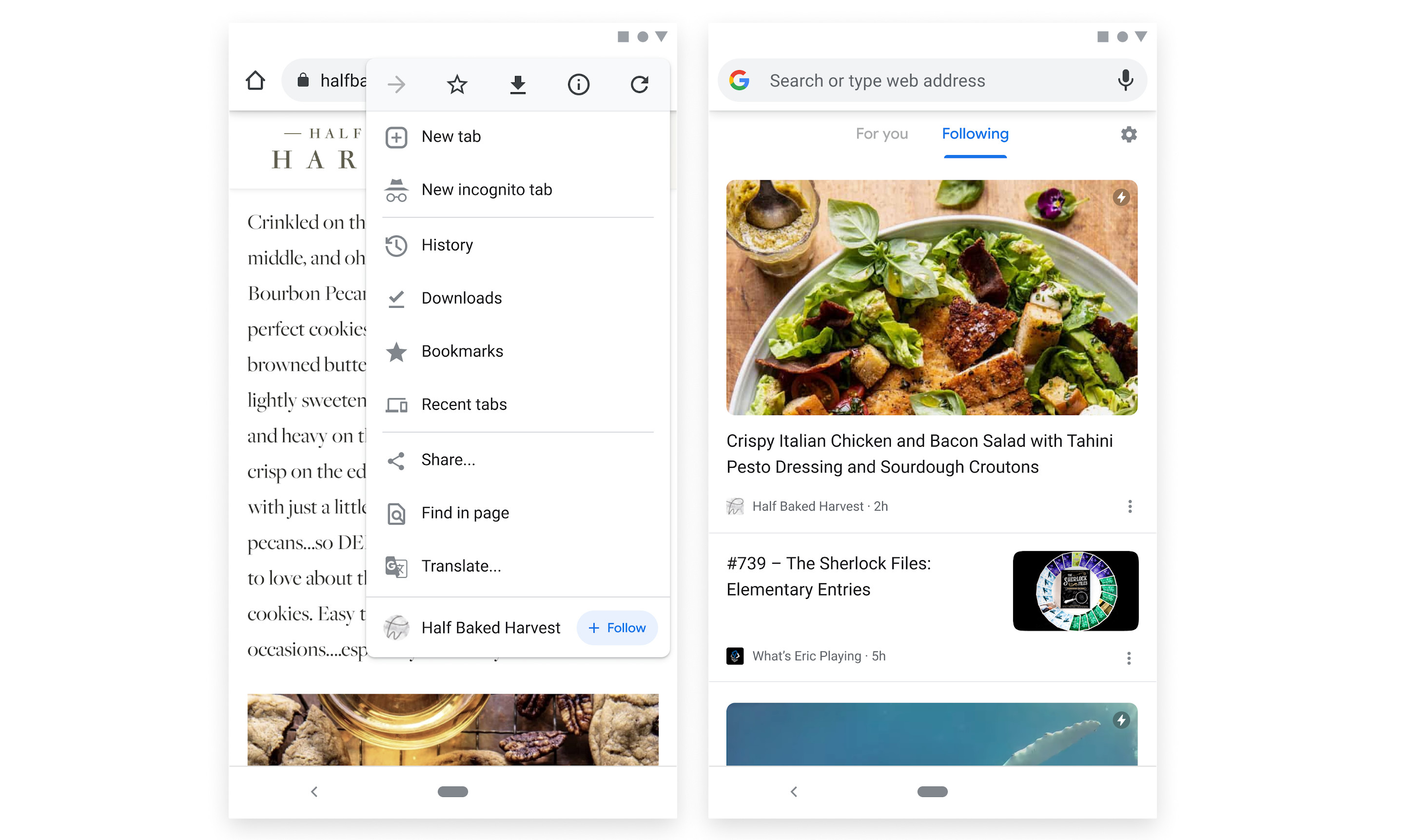 New feature of Chrome Canary on Android allowing you to follow a website with a single tap