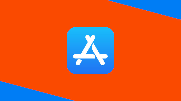The Apple App Store logo on an orange and blue background