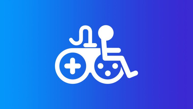 An icon that juxtaposes a videogame controller and a wheelchair user to represent gaming accessibili