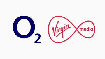 The O2 and Virgin Media logo on a lotion white background